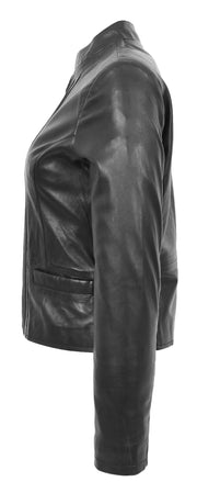 Womens Soft Black Leather Biker Jacket Stand-Up Band Collar Bliss 3