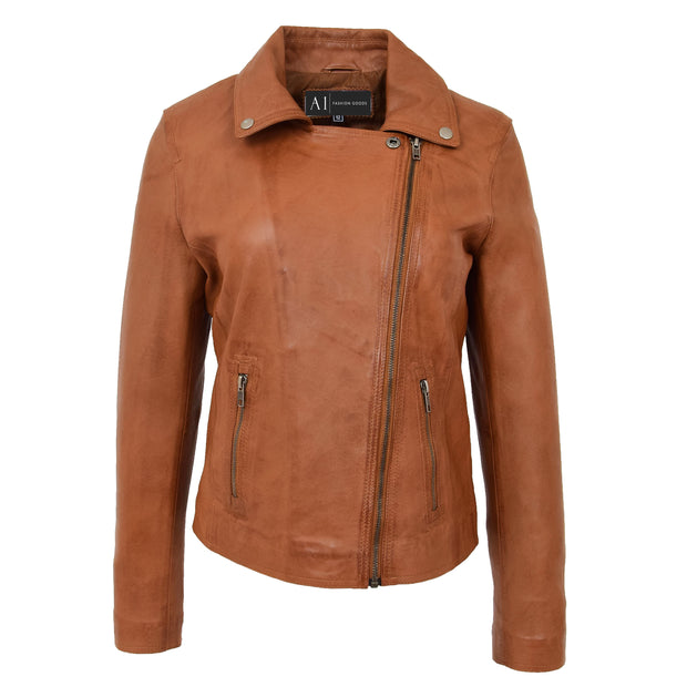 Womens Genuine Leather Biker Jacket Designer Fitted Coat Myla Tan Close Neck