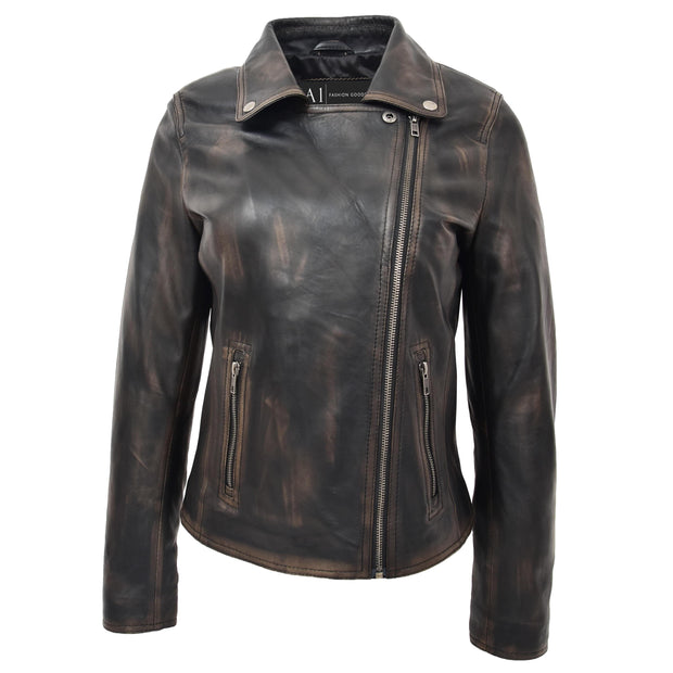 Womens Fitted Real Vintage Rub Off Leather Designer Biker Jacket Myla Close Neck