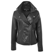 Womens Genuine Leather Biker Jacket Designer Fitted Coat Myla Black Open Neck