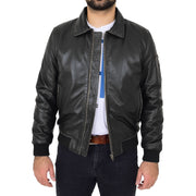 Mens Vintage Bomber Leather Jacket Sheepskin Collar Varsity Gunner Rub Off Without Collar