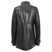 Ladies Genuine Black Leather Duffle Coat Removable Hood Parka Jacket Patty Back Without Hood