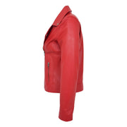 Womens Genuine Leather Biker Jacket Designer Fitted Coat Myla Red Side
