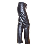 Womens Soft Black Leather Trouser Slim Fit Tapered Jeans Lyla Side