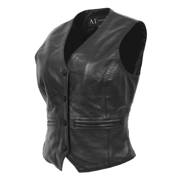 Womens Soft Leather Waistcoat Slim Fit Vest Classic Gilet Katy Black Front Angle