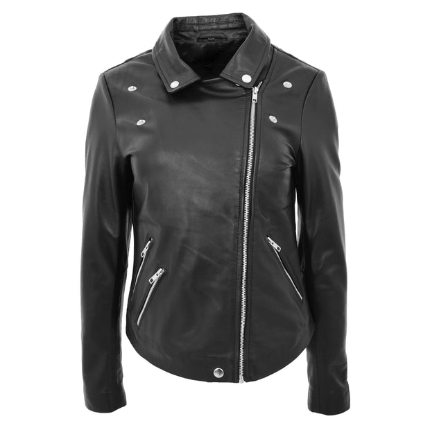Ladies Real Leather Jacket High Quality Zip Fasten Fitted Biker Style Sadie Black Front 2