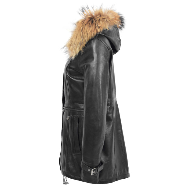 Ladies Genuine Black Leather Duffle Coat Removable Hood Parka Jacket Patty Side