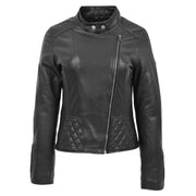 Trendy Black Leather Biker Jacket For Women Quilted Fitted Band Collar Penny Close Neck