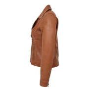 Womens Genuine Leather Biker Jacket Designer Fitted Coat Myla Tan Side