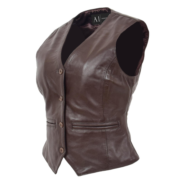 Womens Soft Leather Waistcoat Slim Fit Vest Classic Gilet Katy Brown Front Angle