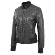 Womens Real Leather Bomber Jacket Black Diamond Quilted Fitted Varsity Storm Front 2