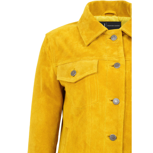 Womens Yellow  Suede Trucker Jacket American Western Denim Biker Style Marisa Feature 1