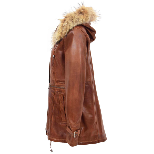 Ladies Genuine Cognac Leather Duffle Coat Removable Hood Parka Jacket Patty Side