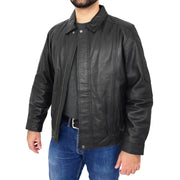 Gents Classic Blouson Leather Jacket Albert Black Open 2