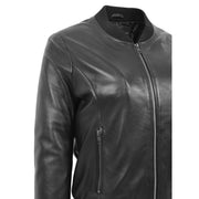 Womens Leather Bomber Jacket Black Zip Fasten Fitted Varsity Joy Feature