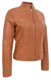 Womens Soft Cognac Leather Biker Jacket Stand-Up Band Collar Bliss 4