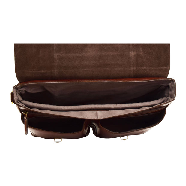 Luxurious Leather Briefcase Classy Business Laptop Bag Buddy Brown Top Open