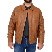 Gents Classic Blouson Leather Jacket Albert Tan Open 1