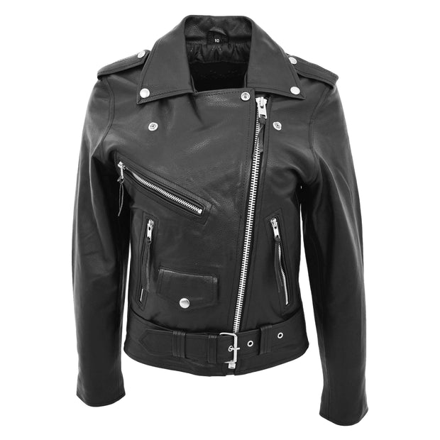 Womens Cowhide Biker Leather Jacket Brando Style Coat Helen Black Front 1