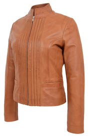 Womens Soft Cognac Leather Biker Jacket Stand-Up Band Collar Bliss 5