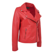 Womens Genuine Leather Biker Jacket Designer Fitted Coat Myla Red Front 1