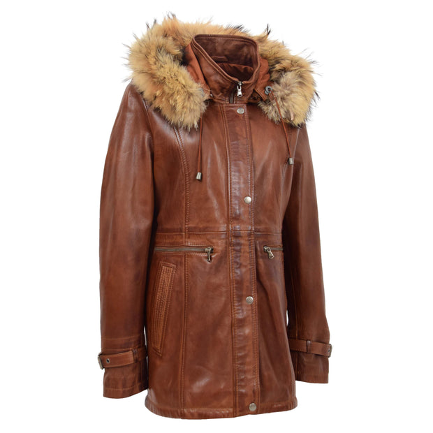 Ladies Genuine Cognac Leather Duffle Coat Removable Hood Parka Jacket Patty Front 1