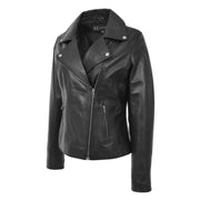Womens Genuine Leather Biker Jacket Designer Fitted Coat Myla Black Front 1