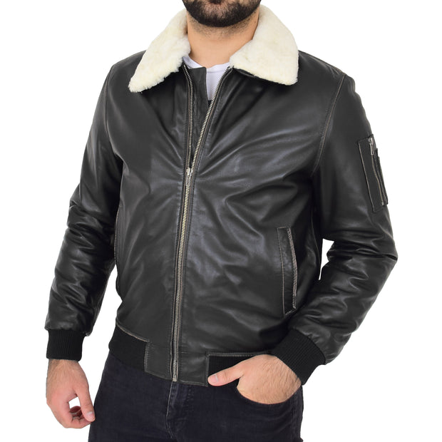 Mens Vintage Bomber Leather Jacket Sheepskin Collar Varsity Gunner Rub Off Front