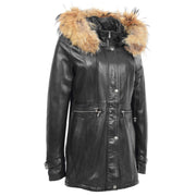 Ladies Genuine Black Leather Duffle Coat Removable Hood Parka Jacket Patty Front 1