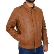 Gents Classic Blouson Leather Jacket Albert Tan Front 2