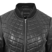 Womens Real Leather Bomber Jacket Black Diamond Quilted Fitted Varsity Storm Feature
