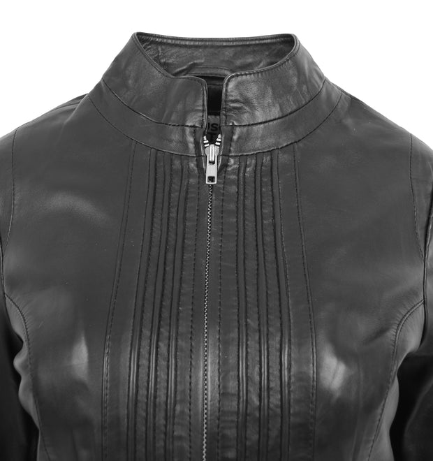 Womens Soft Black Leather Biker Jacket Stand-Up Band Collar Bliss 4