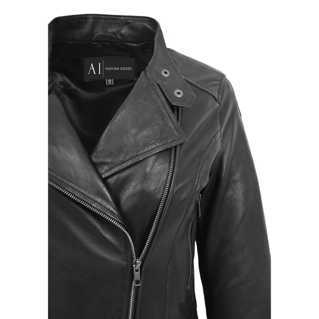Trendy Black Leather Biker Jacket For Women Quilted Fitted Band Collar Penny Feature 1