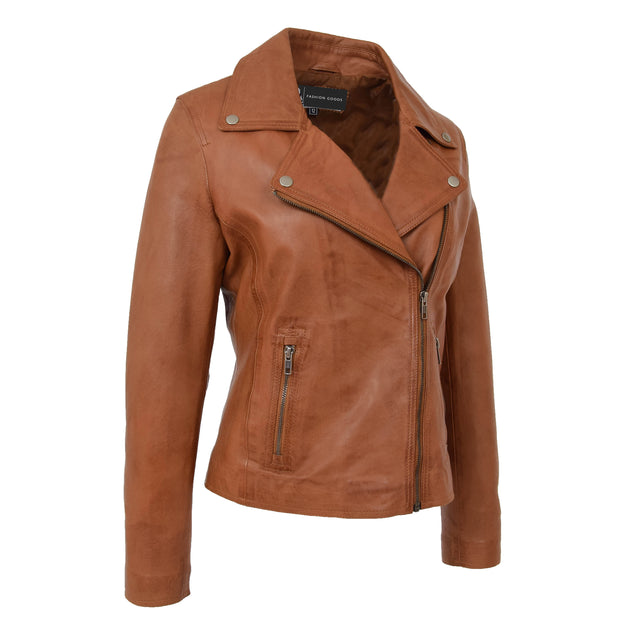 Womens Genuine Leather Biker Jacket Designer Fitted Coat Myla Tan Front 1