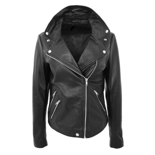 Ladies Real Leather Jacket High Quality Zip Fasten Fitted Biker Style Sadie Black Front 3