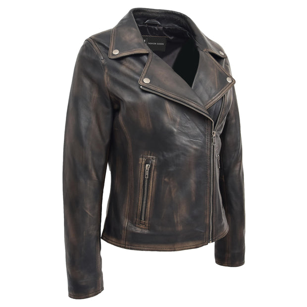 Womens Fitted Real Vintage Rub Off Leather Designer Biker Jacket Myla Front 2