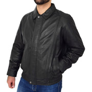 Gents Classic Blouson Leather Jacket Albert Black Front 1