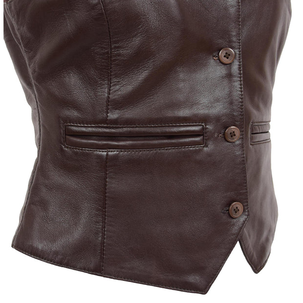 Womens Soft Leather Waistcoat Slim Fit Vest Classic Gilet Katy Brown Feature