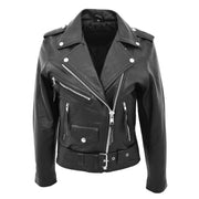 Womens Cowhide Biker Leather Jacket Brando Style Coat Helen Black Front 2