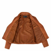 Womens Genuine Leather Biker Jacket Designer Fitted Coat Myla Tan Lining
