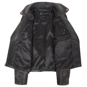 Womens Fitted Real Vintage Rub Off Leather Designer Biker Jacket Myla Lining