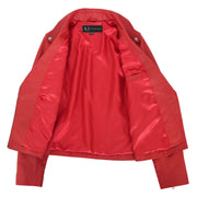 Womens Genuine Leather Biker Jacket Designer Fitted Coat Myla Red Lining