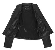 Womens Soft Black Leather Biker Jacket Stand-Up Band Collar Bliss 5