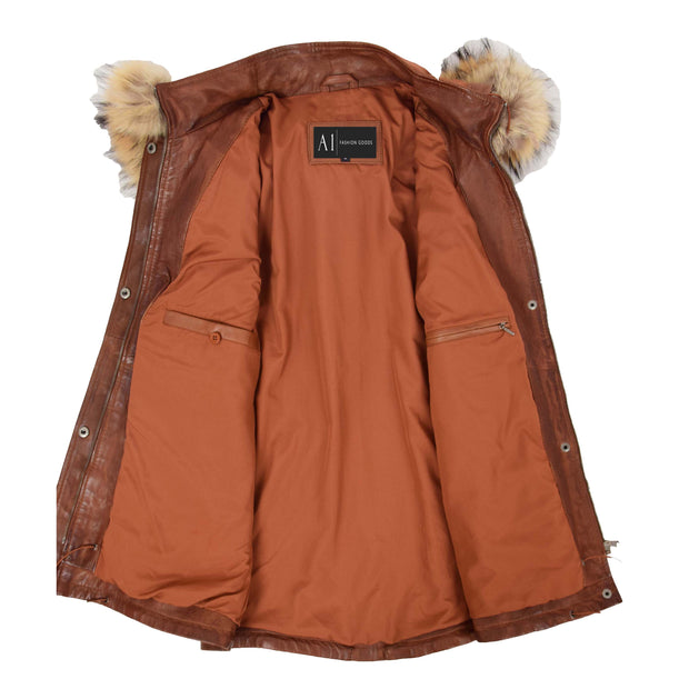Ladies Genuine Cognac Leather Duffle Coat Removable Hood Parka Jacket Patty Lining
