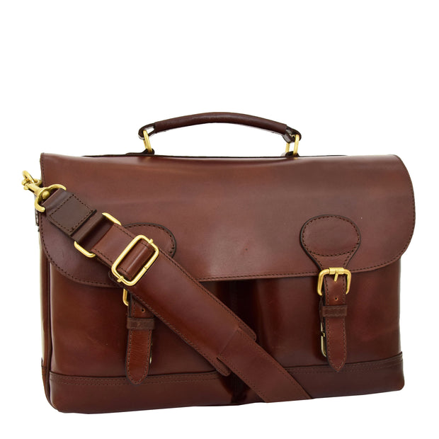 Luxurious Leather Briefcase Classy Business Laptop Bag Buddy Brown
