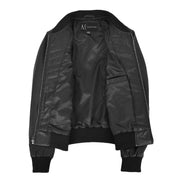Womens Real Leather Bomber Jacket Black Diamond Quilted Fitted Varsity Storm Lining