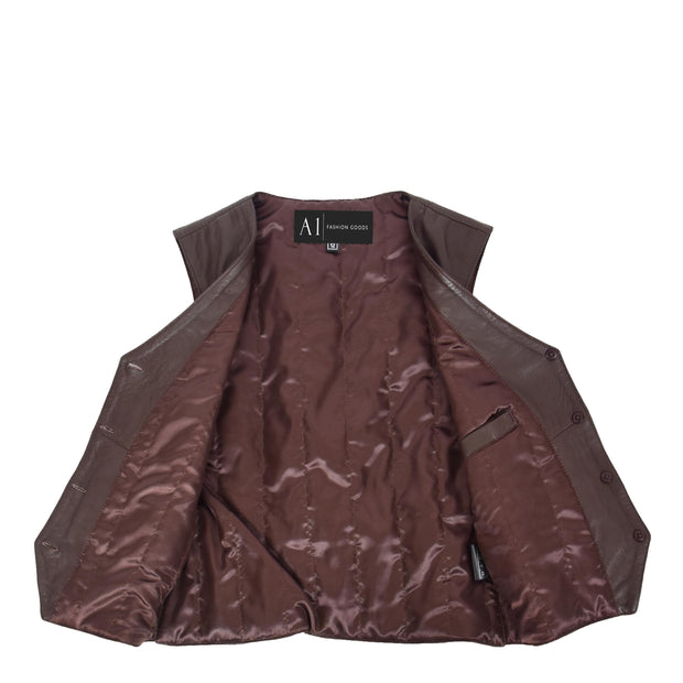 Womens Soft Leather Waistcoat Slim Fit Vest Classic Gilet Katy Brown Lining