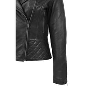 Trendy Black Leather Biker Jacket For Women Quilted Fitted Band Collar Penny Feature 2
