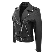 Womens Cowhide Biker Leather Jacket Brando Style Coat Helen Black Front Side 2