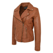 Womens Genuine Leather Biker Jacket Designer Fitted Coat Myla Tan Front 2